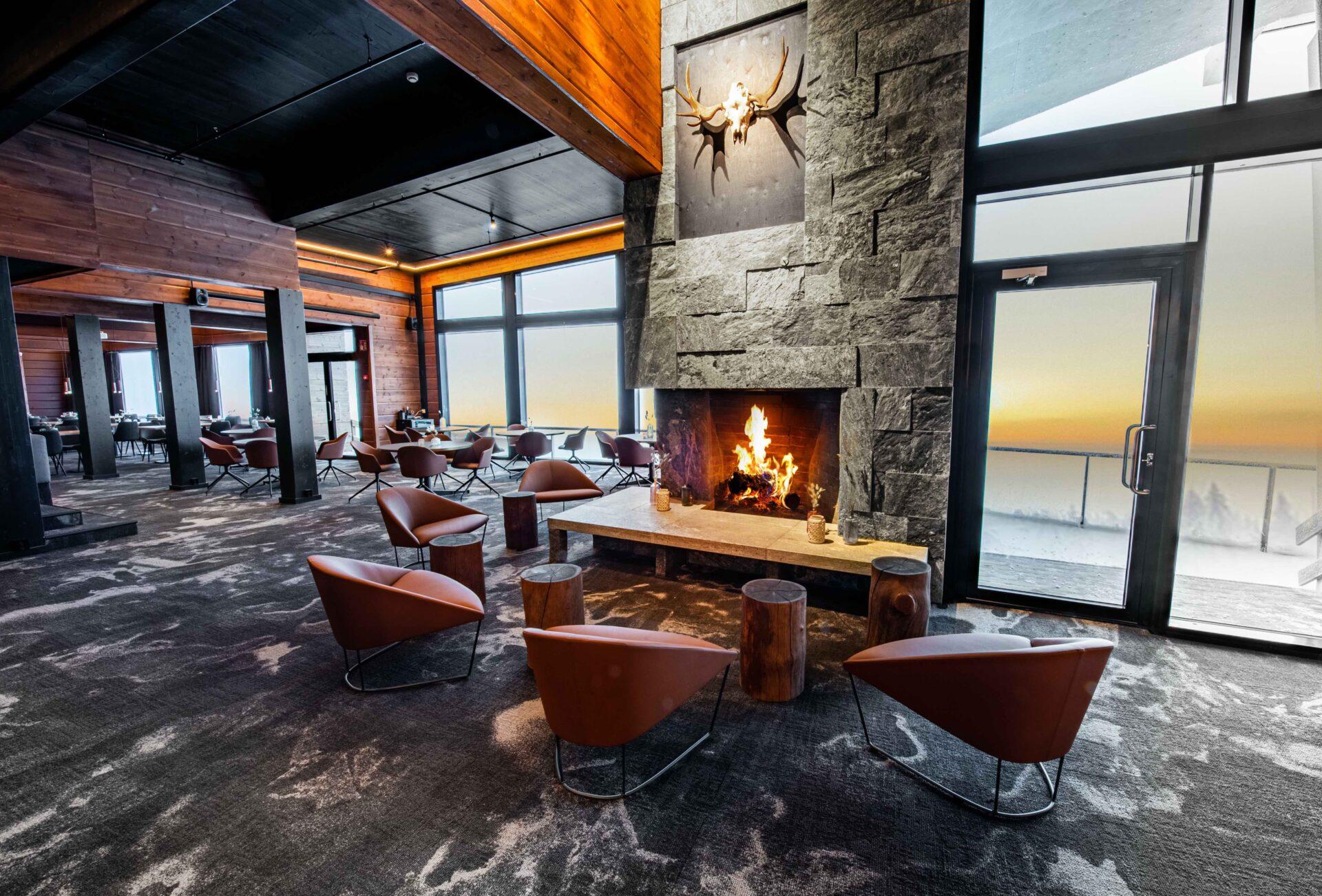 Sunrise fireplace hotel Iso-Syöte